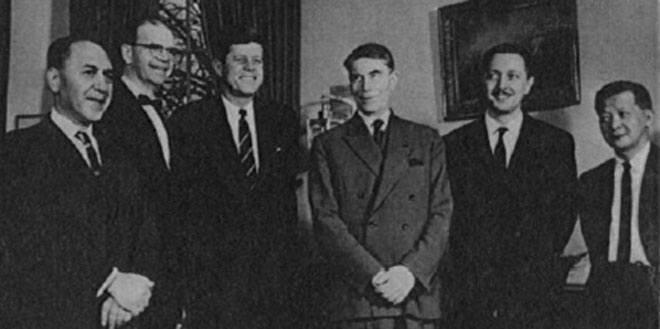 U.S. President John F. Kennedy, Asbjørn Følling, and other recipients of the first Joseph P. Kennedy International Award in Mental Retardation, 1962