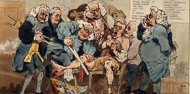 A watercolor of five surgeons participating in an amputation without anesthetic.