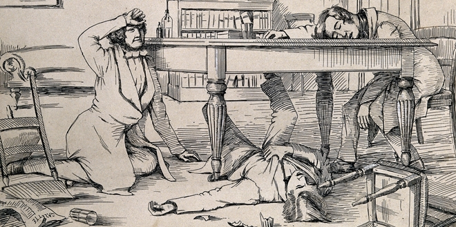 A drawing of the effects of liquid chloroform on Sir James Young Simpson and his friends.