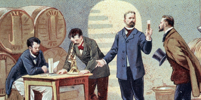 Pasteur studying the diseases of wine in 1863