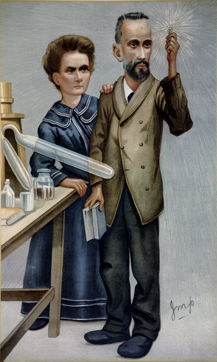 Marie and Pierre Curie caricatured in Vanity Fair, December 22, 1904. Pierre is holding up a tube of glowing radium. .