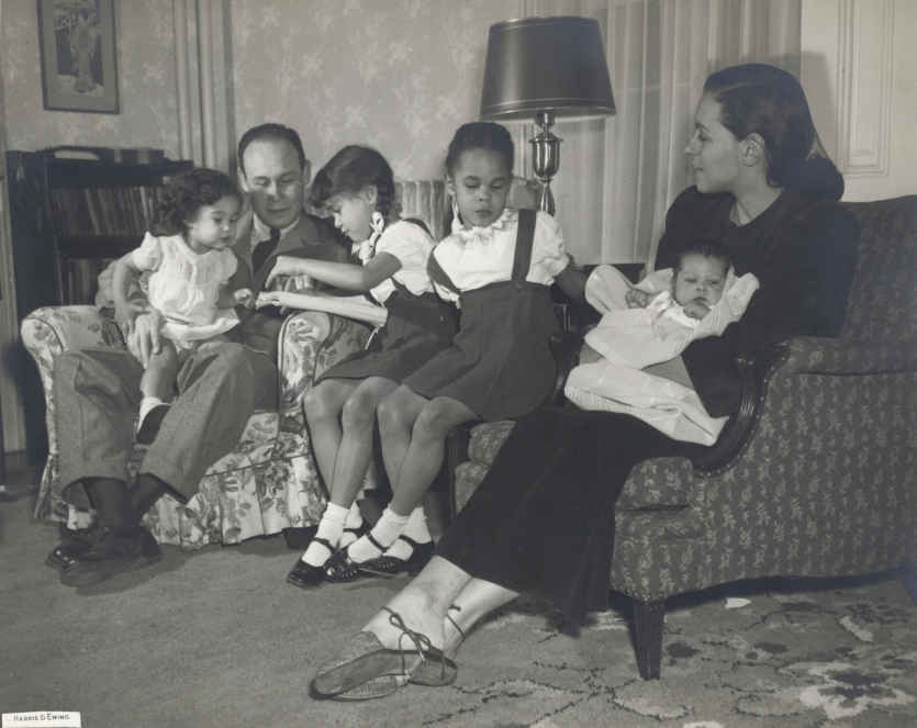 Charles and Lenore Drew, with their children, ca. 1947.