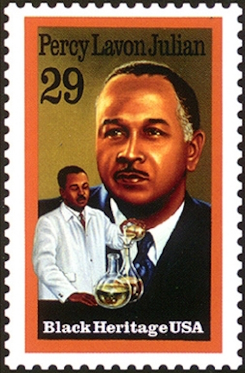Percy Julian was honored on this stamp issued by the U.S. Postal Service in 1993.