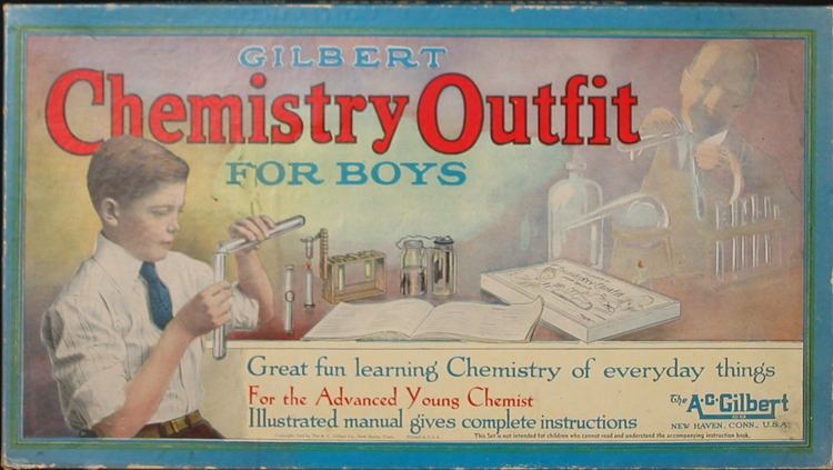 "As a child, Gordon Moore learned to love chemistry (and explosions) by tinkering with a neighbor's chemistry set, possibly one like this A. C. Gilbert No. 1 ""Chemistry Outfit for Boys,"" ca. 1943."