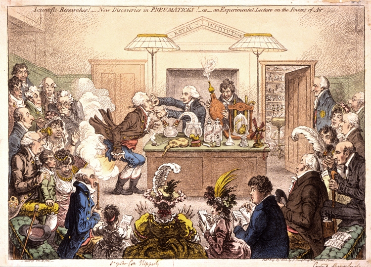 A young Humphry Davy gleefully works the bellows in this caricature by James Gillray of experiments with laughing gas at the Royal Institution. The lecturer is Thomas Garrett, Davy's predecessor as professor of chemistry. Benjamin Thompson, Count Rumford,