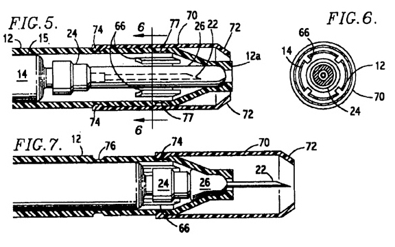 sheldon kaplan's patent diagrams for his improved automatic injector, epipen