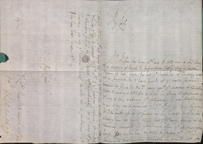 Letter written by 17th-century scientist Lady Ranelagh