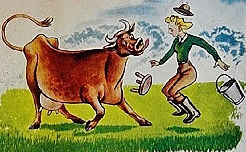 Cow and dairy maid ad from 1945