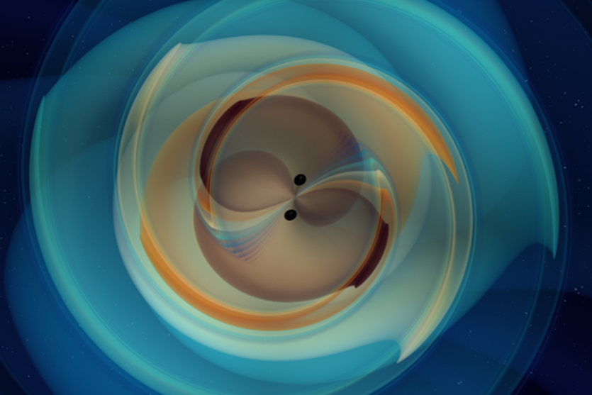 Still image from a simulation of a heavy black-hole merger