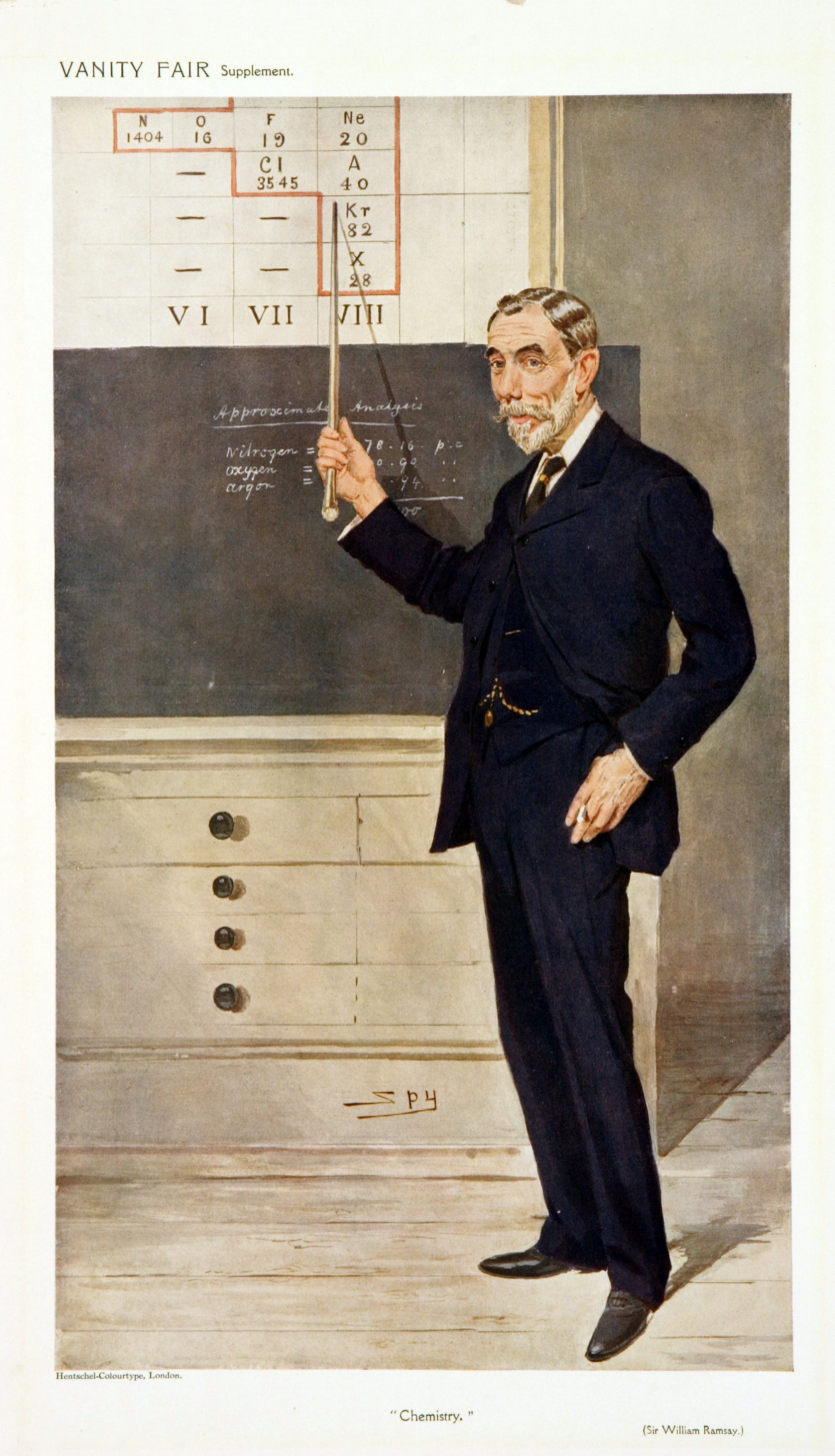 William Ramsay as the personification of chemistry in Vanity Fair, 1908, chromolithograph, by Leslie Ward.