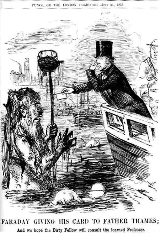 Michael Faraday's concern about contemporary environmental problems caricatured. From Punch, July 21, 1855.