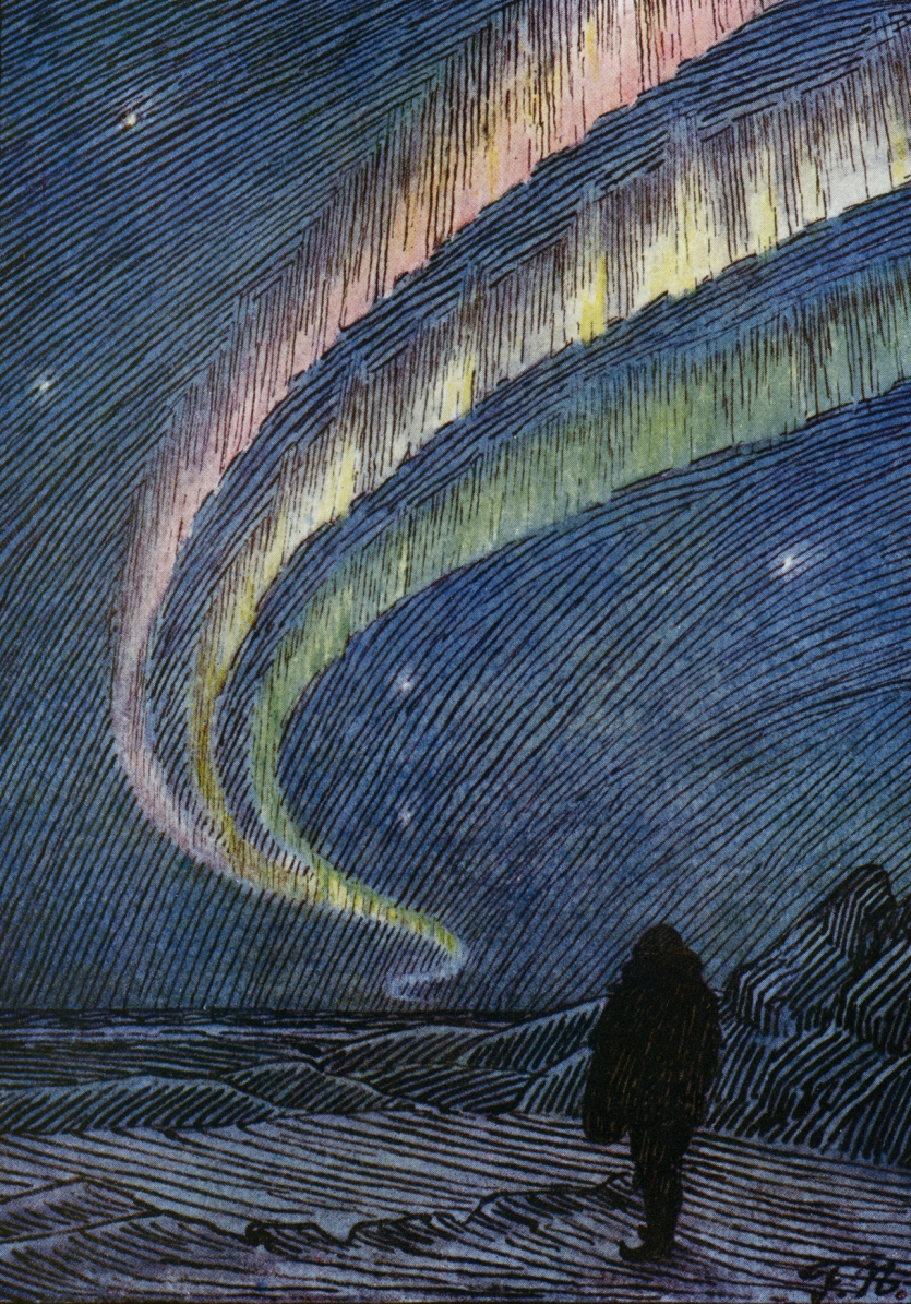 Aurora borealis as drawn by Fridtjof Nansen