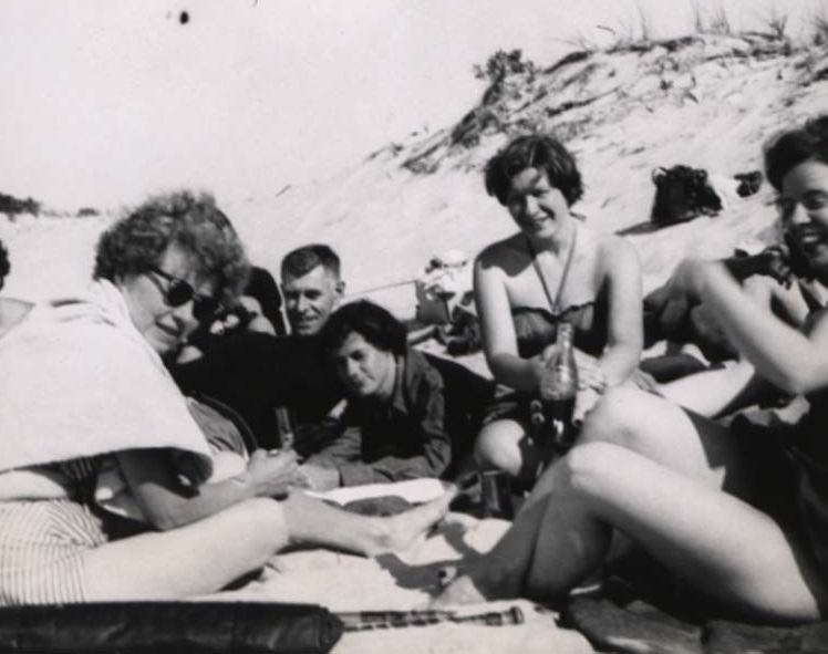 Mary Fieser and graduate students at Crane's Beach, Ipswich, Massachusetts, July 1950.