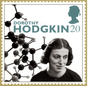 Dorothy Crowfoot Hodgkin was honored on this postage stamp issued in the United Kingdom.