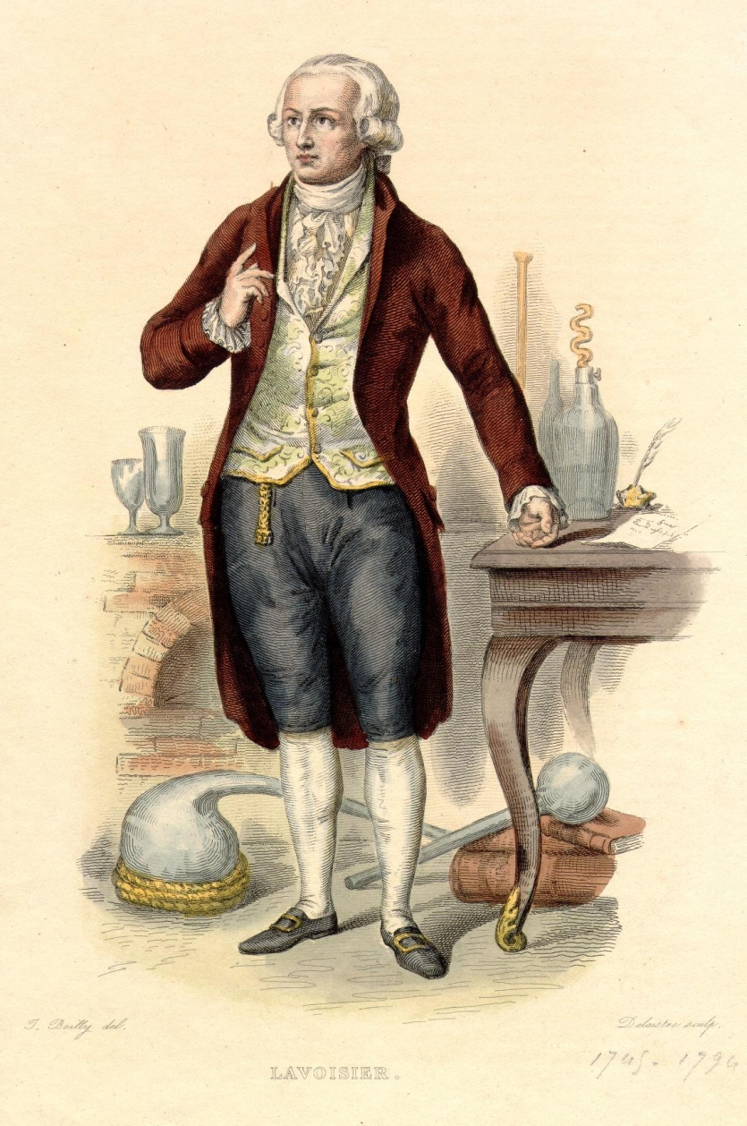 Antoine-Laurent Lavoisier. Line engraving by Louis Jean Desire Delaistre, after a design by Julien Leopold Boilly.