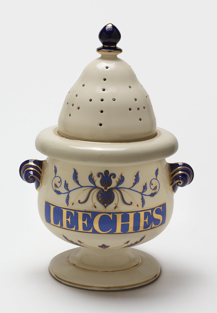 porcelain jar with writing and gilding