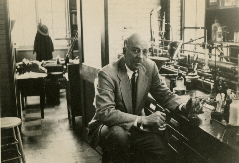 Louis Fieser in Harvard University laboratory, December 1950.
