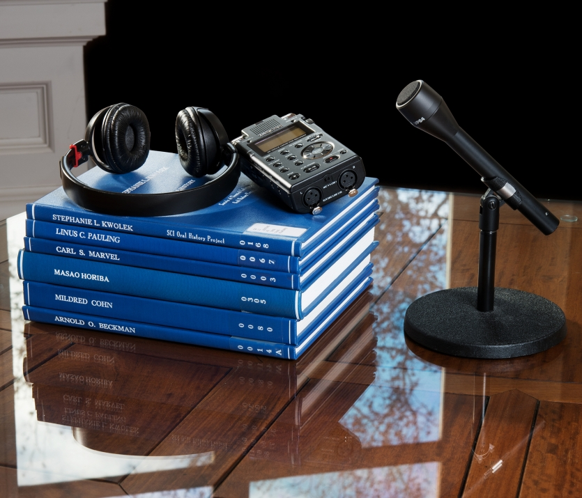 Oral history bound copies, recorder, microphone