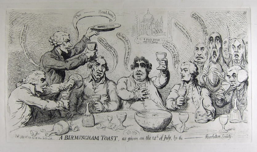 "James Gillray's political cartoon, ""A Birmingham toast, as given on the 14th of July"" (1791) depicting Priestley."