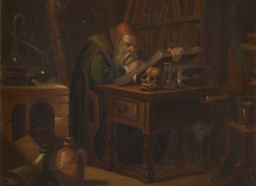 Oil painting of an alchemist reading