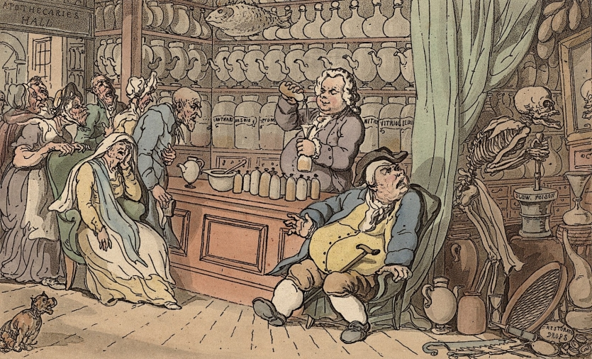 Satirical cartoon of apothecary