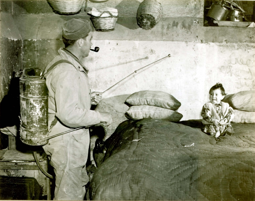 Soldier in an Italian home spraying a mixture of DDT and kerosene.