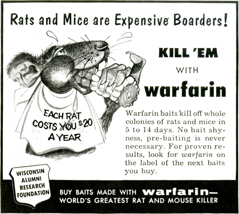 Advertisement for warfarin rodenticide, 1957.