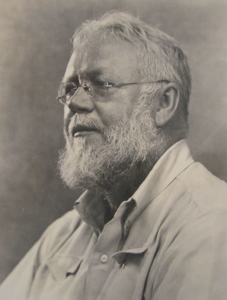 black and white photo portrait of older man