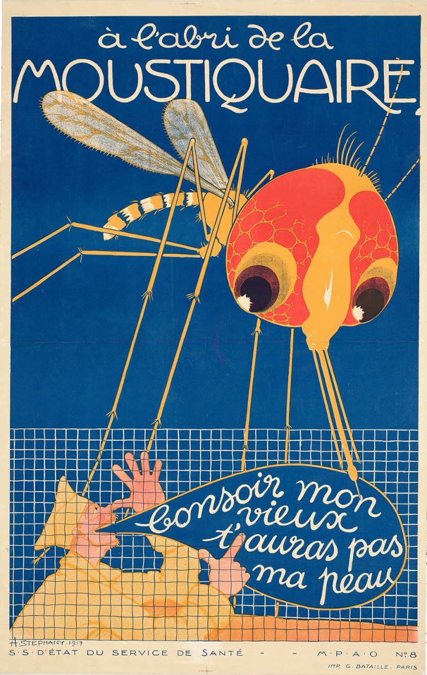French public health poster with cartoon