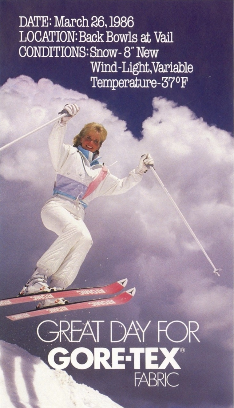 Advertisement with a skier