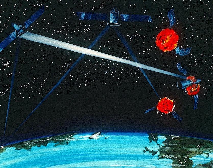 Illustration of orbiting laser weapons