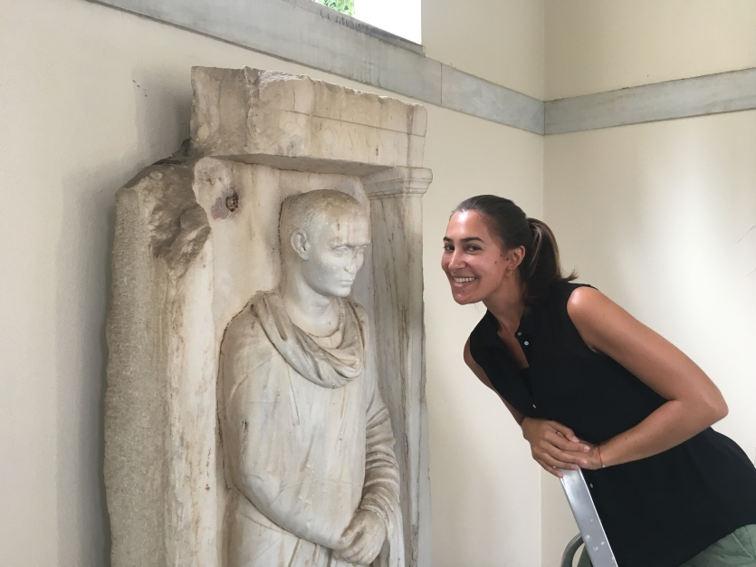 Janelle Sadarananda with Greek statue