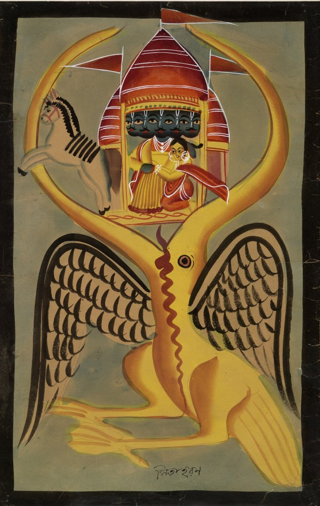 Stylized painting of mythical beings in the beak of a vulture