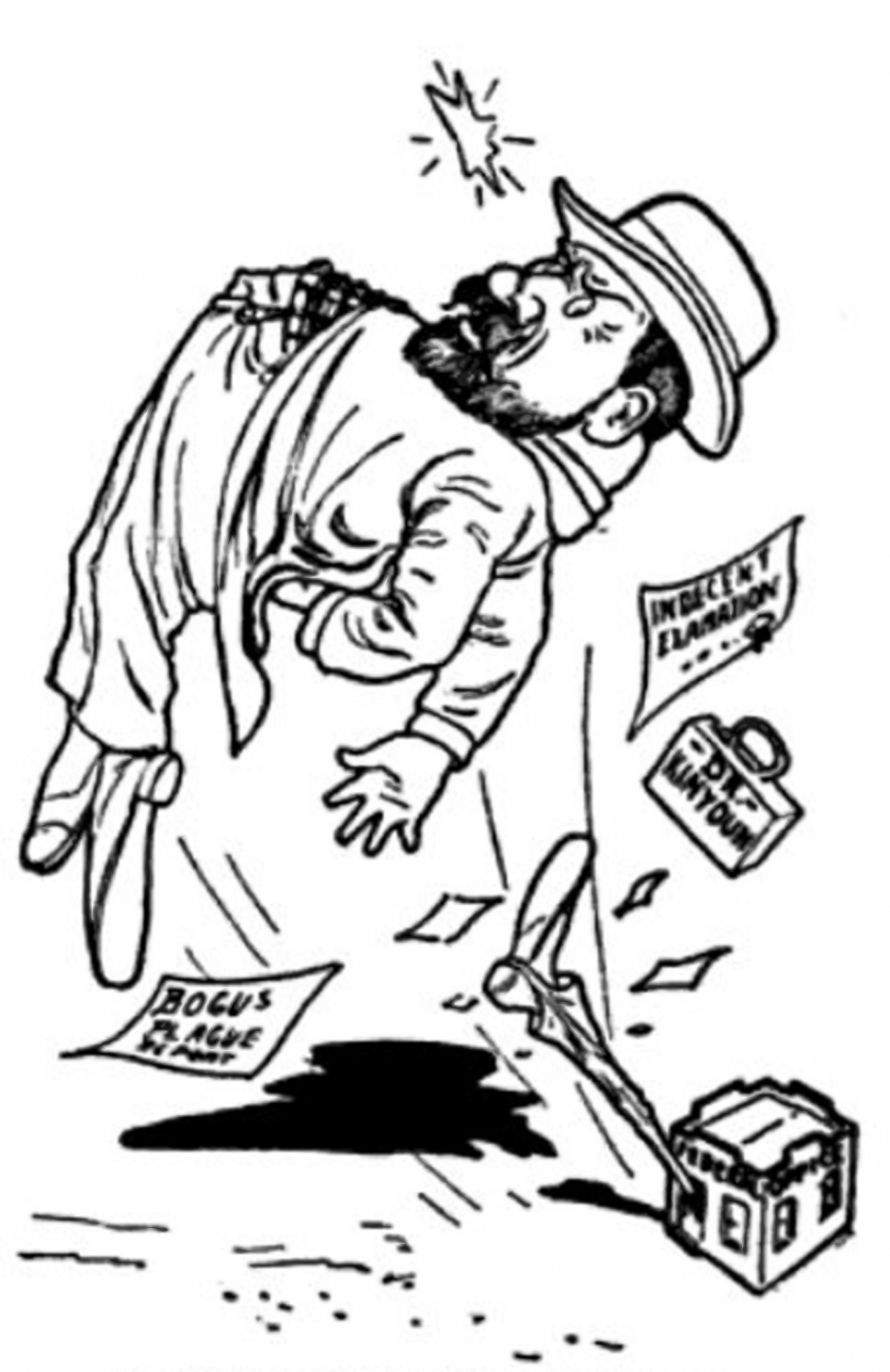 Cartoon of man in hat being kicked in the rear