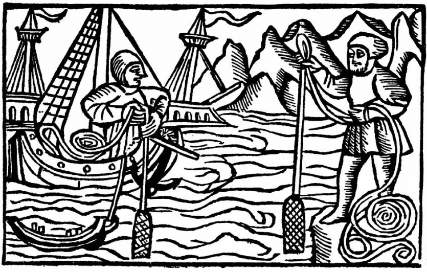 Woodcut of sailors on medieval ship