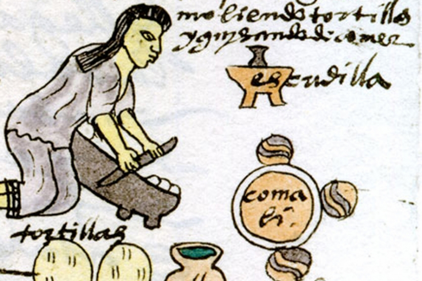 Drawing of tortilla making