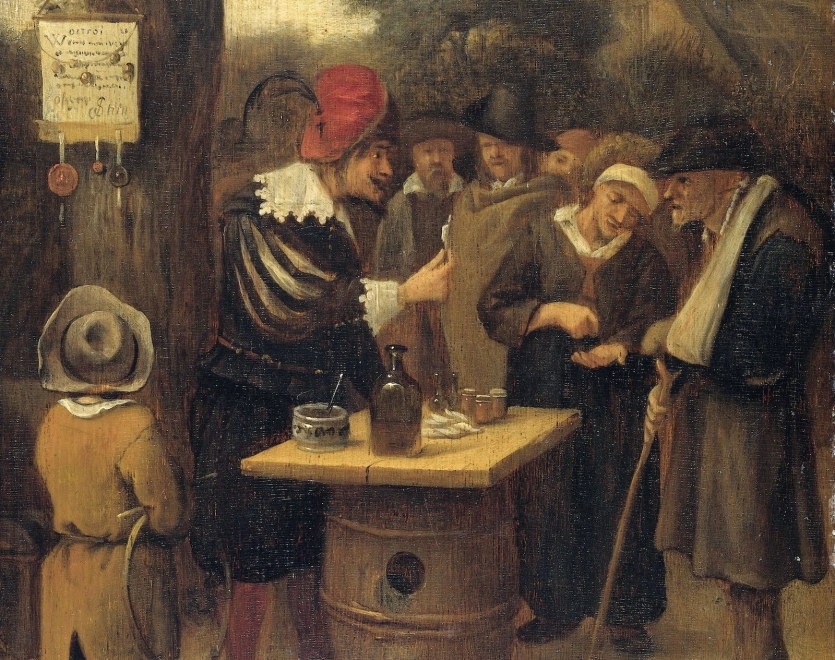 Oil painting of quack selling in a market