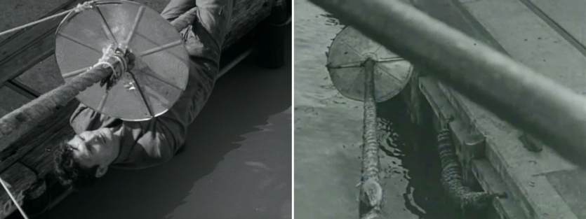 Two black-and-white still images from films