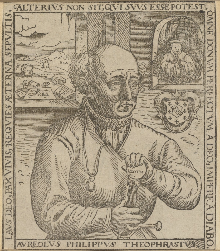 Portrait of Paracelsus with allegorical elements