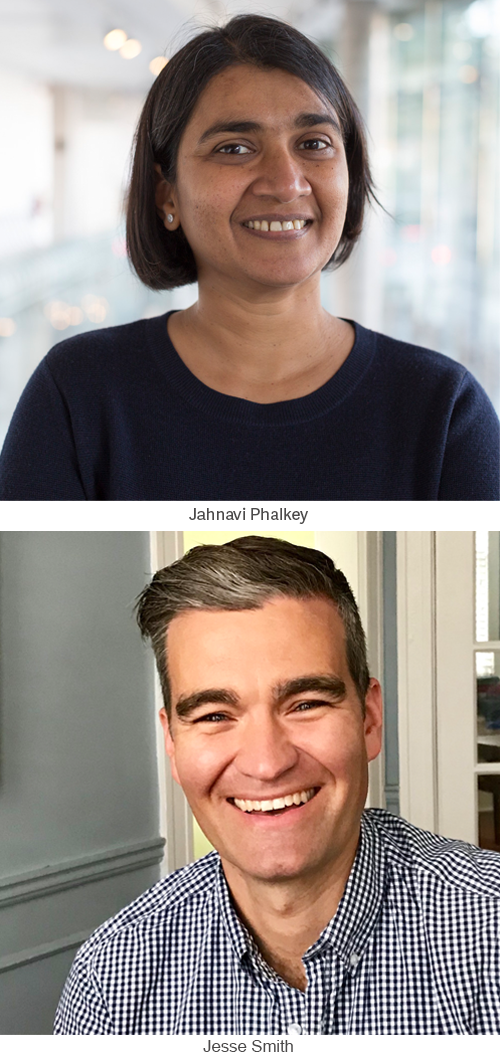 Jahnavi Phalkey and Jesse Smith headshots