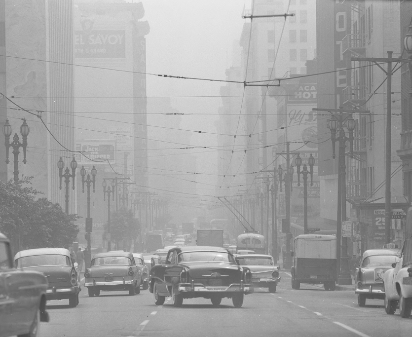 Car traffic in downtown LA under a blanket of smog
