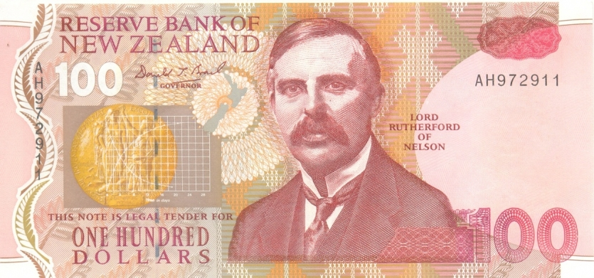 Rutherford on the New Zealand 100-dollar banknote.