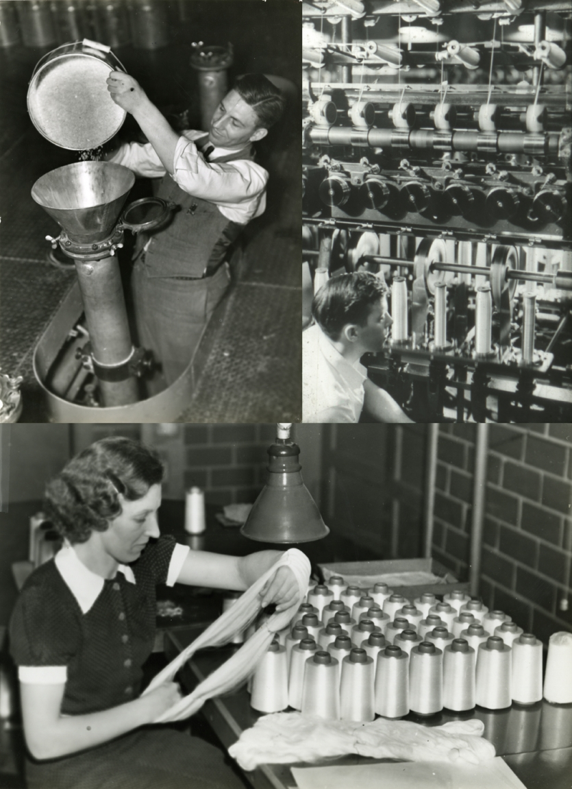 Nylon production photos, 1938