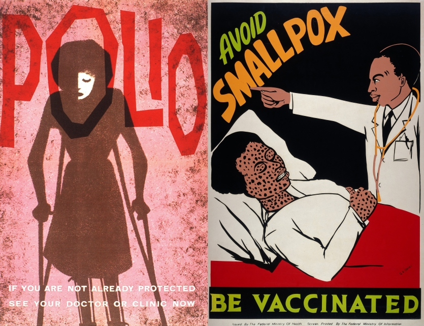 Public-health posters for polio and smallpox vaccinations.