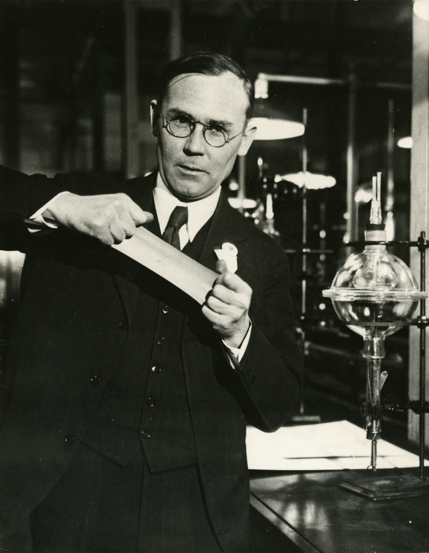 Wallace H. Carothers, shown here with neoprene, the first commercially successful synthetic rubber.